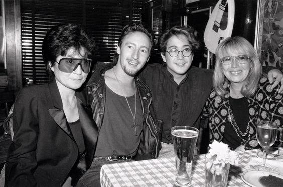 Yoko Ono Lennon, Julian Lennon, Sean Lennon, Cynthia Lennon at the Hard Rock Cafe. #hardrock