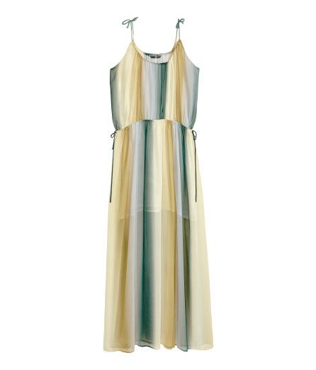 Check this out! Sleeveless maxi dress in crinkled chiffon with printed, toned stripes, drawstring at top and waist, and a chiffon lining. - Visit hm.com to see more.