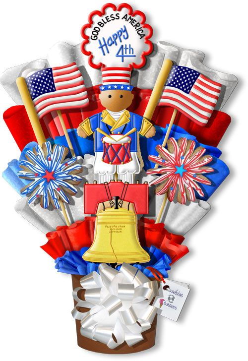 Independence Day Hand Decorated Cookie Bouquet Gift Arrangement Old Glory, Liberty Bell
