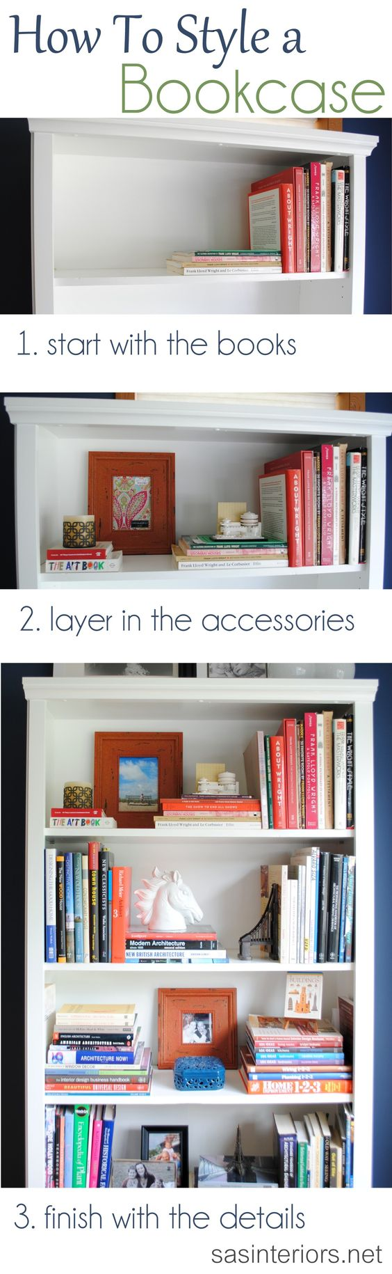 A breakdown on how-to style a bookcase. Inspiration tips ...
