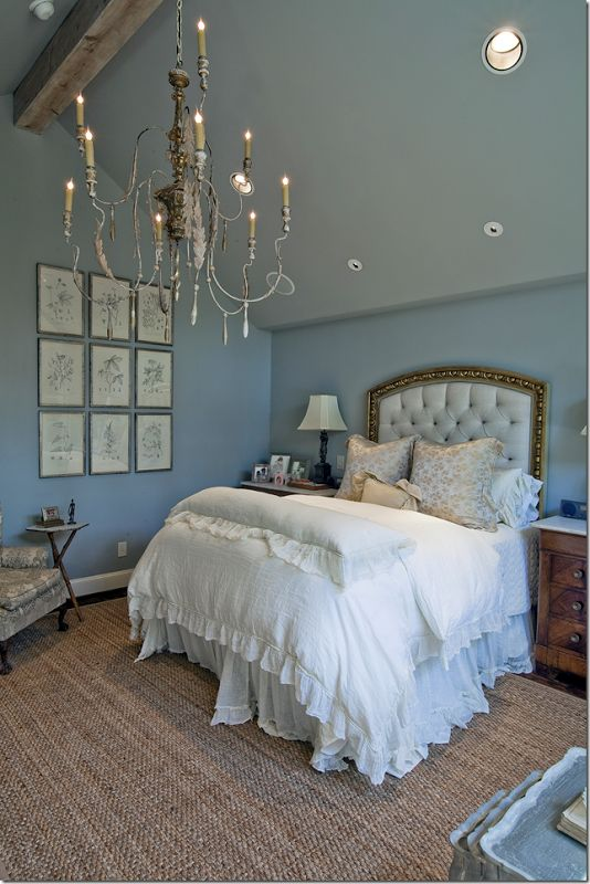 Cote de texas blue walls and bedrooms on pinterest Chandelier in master bedroom