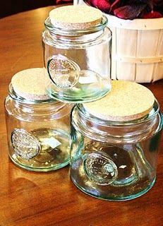 Love these jars!  For pantry (flour, sugar, nuts), craft room (ribbons, buttons, fabric) or even laundry room (detergent, softner).