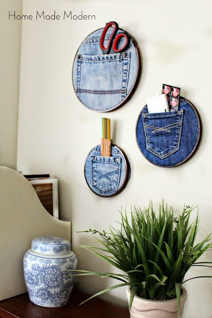 Denim Pocket Organizers (are these on embroidery hoops?). OMG, how adorable are these?!!! I LOVE this idea!: