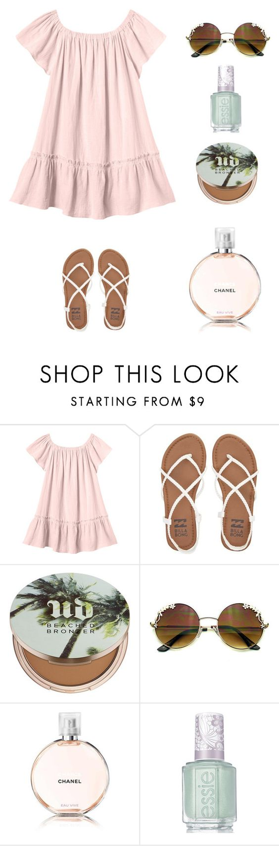 """""""Comfy but stylish summer outfit"""" by snhollick ❤ liked on Polyvore featuring Rebecca Taylor, Billabong, Urban Decay, Chanel and Essie"""