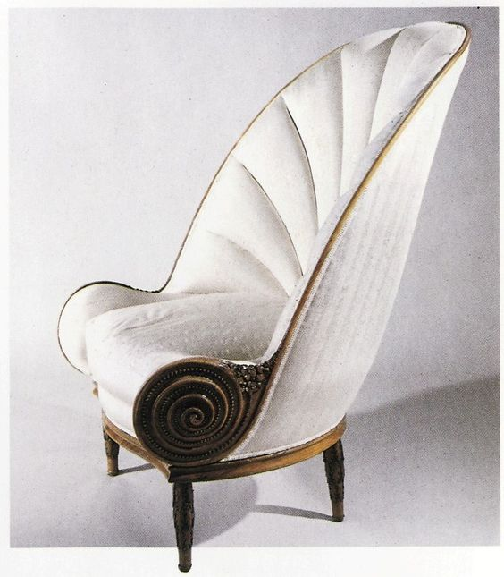 A fabulous shell shaped chair designed by paul iribe for Mobilia uno furniture