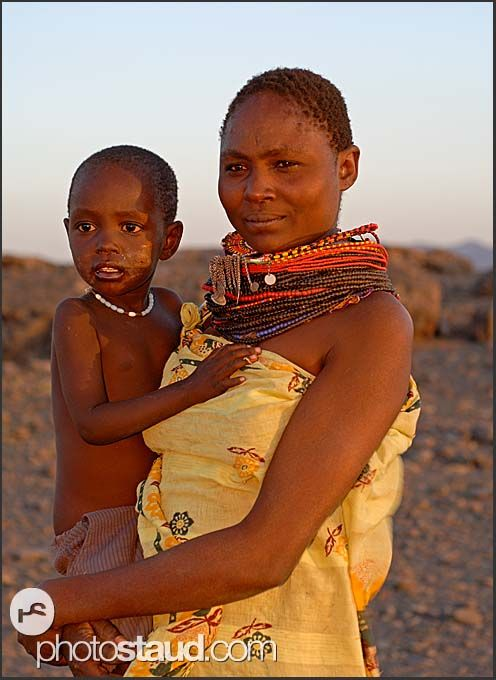 Samburu mother with little child in her arms, Kenya