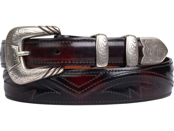 Lucchese Men's Belt | Goat in Black Cherry | Seville Stitching #LuccheseBelts www.lucchese.com
