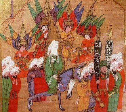 Mahoma en una peregrinación a La Meca rodeado de los arcángeles Yibril, Mija'il, Israfil e Izrail. Miniatura turca, 1595