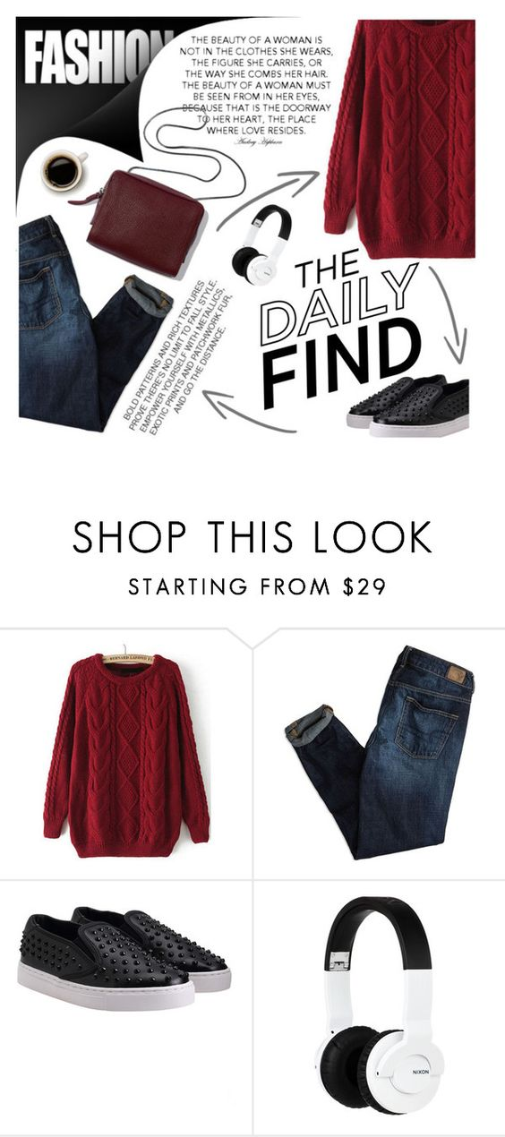 """The daily find"" by m-zineta ❤ liked on Polyvore featuring American Eagle Outfitters and Nixon"