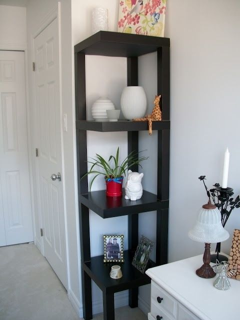 Corner shelf ikea hack four lack tables each with a leg - Etagere murale angle ikea ...