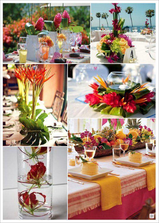 fleur mariage centre de table exotique tropical