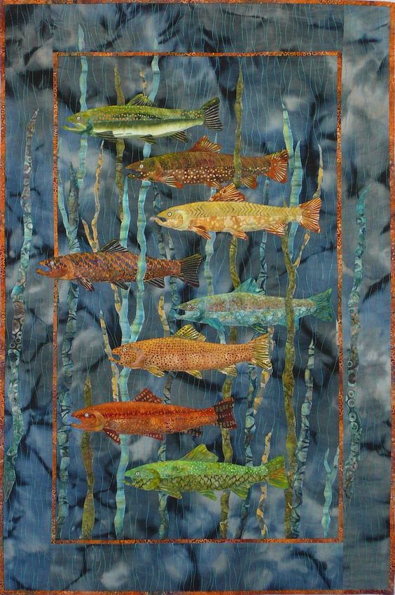 Joanne Baeth Fiber Arts Quilting – Fish School: