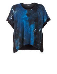 Entree Wide-cut batik shirt in Black / Blue