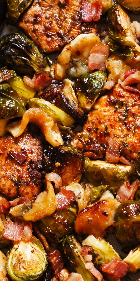 Chicken with Brussels Sprouts and Bacon