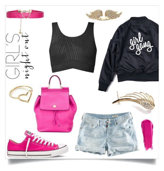 """""""Girls Night Out"""" by tiffany-blue-tardis ❤ liked on Polyvore featuring Converse, H&M, Topshop, NARS Cosmetics, Accessorize, Dolce&Gabbana, Jordan Askill, girlpower and girlsnightout"""