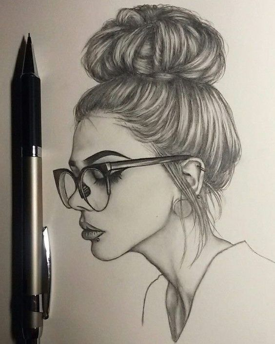 long hair in a bun, how to draw female body, black glasses, piercing on the lips, black and white drawing