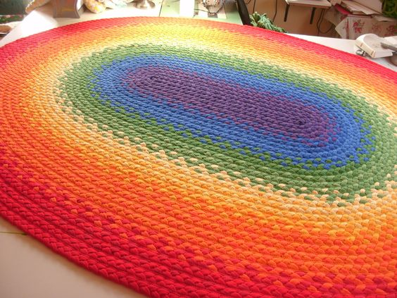 Braided Rainbow Rug 69 Quot X89 Quot Made From Organic Cotton And