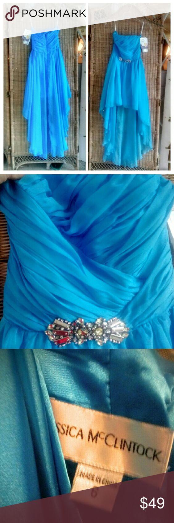Jessica McClintock NWT Prom Dress Peacock blue hi lo dress from Jessica McClintock. NWT for 169.00. Never even tried on. Size 6. Jessica McClintock Dresses Prom