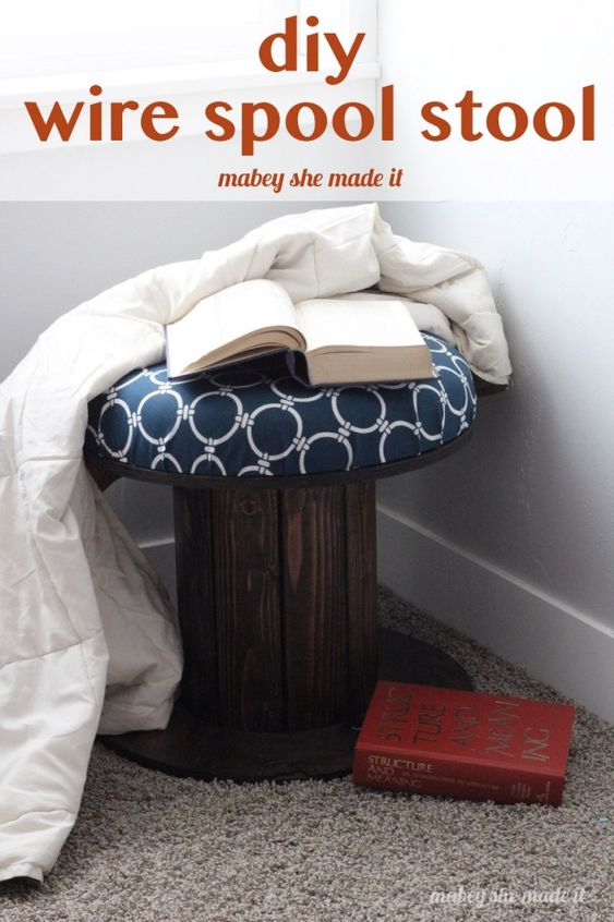 Upcycling wood spools to a stool nooks outdoor fabric for Diy wire spool