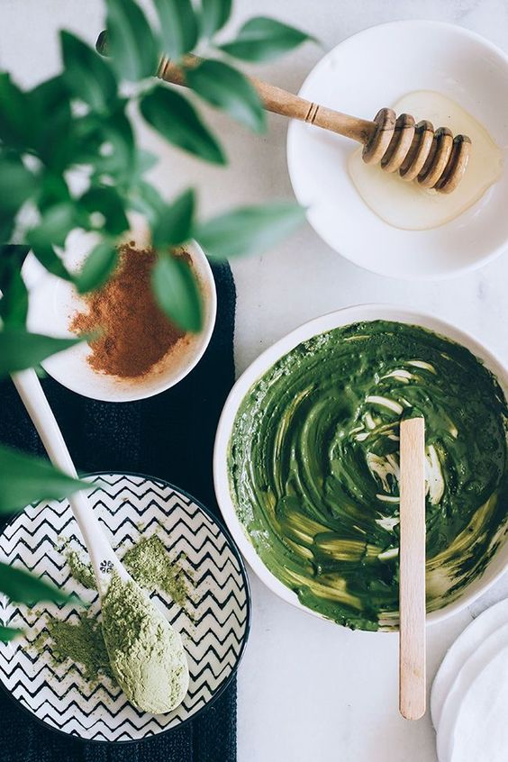 Rejuvenate with a homemade facial that includes a matcha green tea face mask and salted cream body scrub.