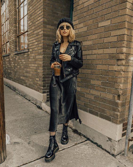 "Nicole Alyse on Instagram: ""All black uniform today 🖤 Wearing a @coreylynncalter slip dress, @lulus moto jacket, and @drmartensofficial boots ✔️ Three staple basics I…"""