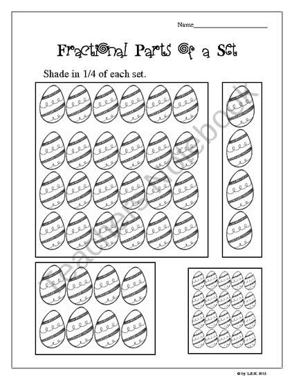 fractional parts of a set worksheets shamrocks eggs product from third grade teacher on. Black Bedroom Furniture Sets. Home Design Ideas