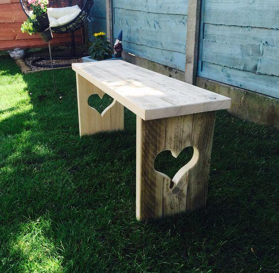 Handmade garden bench #shabbychicgarden #lovehearts #garden #cute