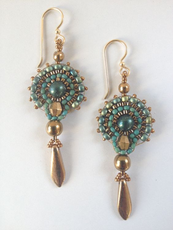 Jeka Lambert, seed bead woven fan earrings gold turquoise: