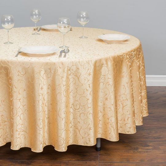 108 In Round Jacquard Scrollwork Tablecloth In 2020 Cloth Table Covers Round Tablecloth Oval Tablecloth