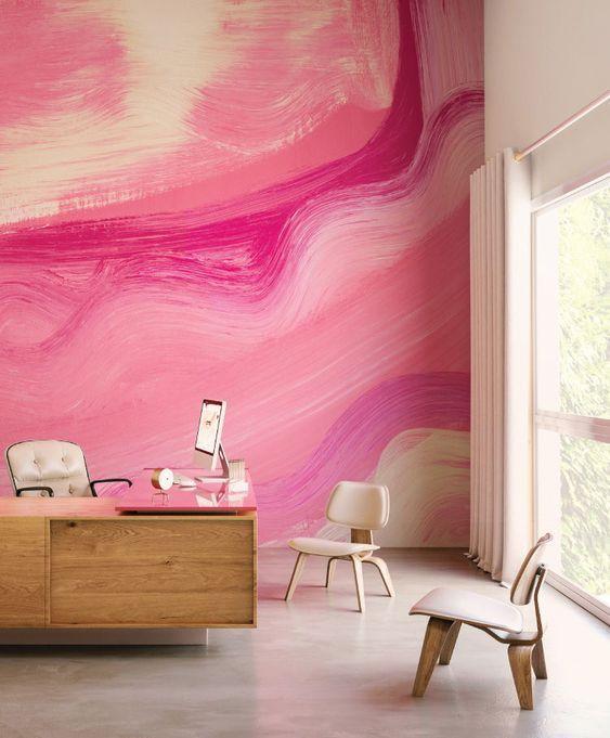 Contemporary Pink Wallpaper Wallpaper Interior Design Contemporary Interior Design Modern Interior Design