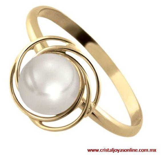 14k oro amarillo anillo con perla, compralo en www.cristaljoyasonline.com.mx