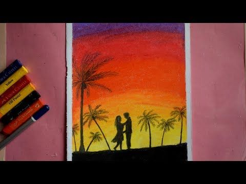 Easy Oil Pastel Drawing For Beginner A Evening Romantic Couple