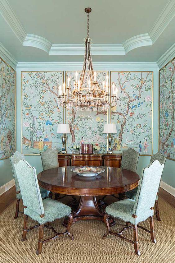Decoration Coloree De La Salle A Manger Elegantes Esszimmer Elegante Abendessen Esszimmer Blau