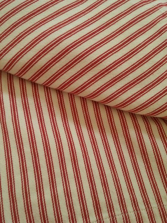 "(4) POTTERY BARN RED Ticking Stripe Cafe Curtain Panels Pole Top 44"" W x 36"" L #PotteryBarn #Cottage"