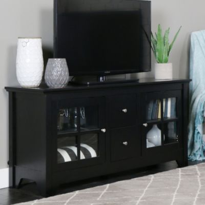 52 Transitional Wood Media Tv Stand Storage Console Black Black Diytransitionaldecoration Tv Stand Decor Solid Wood Tv Stand Living Room Tv Stand