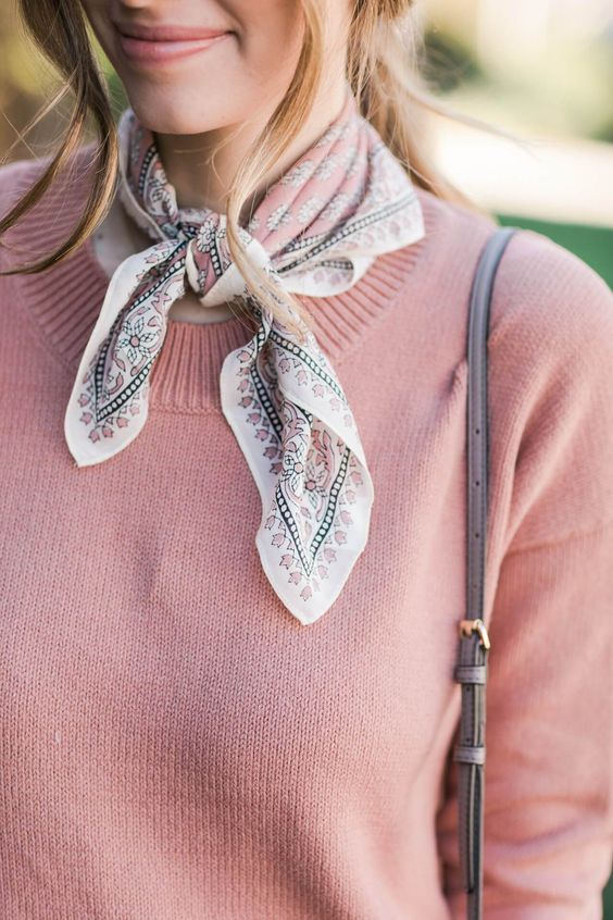 necktie bandana scarf with sweater | pink sweater | winter Style | accessory trends