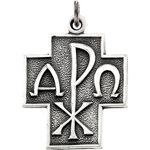 Sterling Silver 1in Alpha Omega Cross 24in Chain Chi Rho