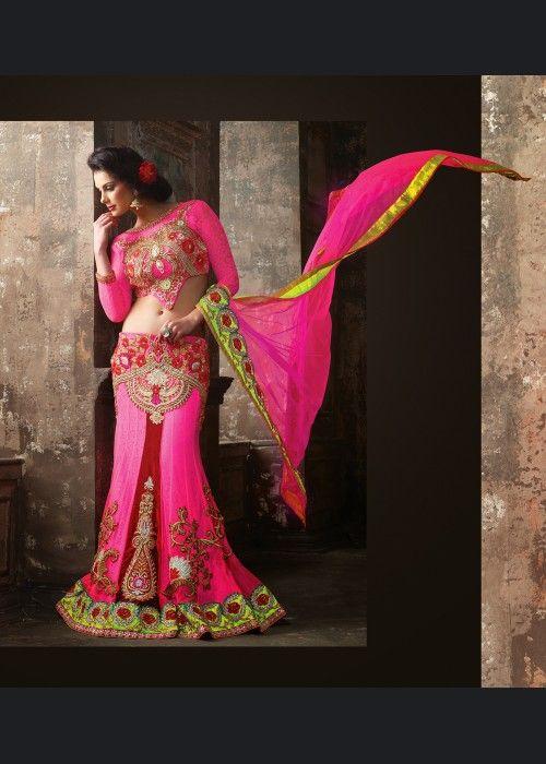 Buy Valentine Deep Pink Lehenga Choli US$ 202.23 Shop at - valentine-gift-wardrobe.blogspot.co.uk/2014/02/buy-valentine-deep-pink-lehenga-choli.html