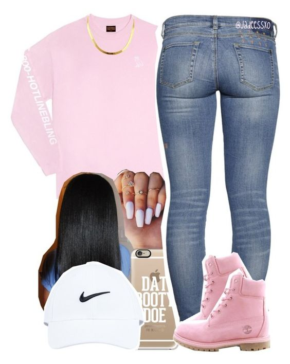 """""""1-800-HOTLINEBLING"""" by jadeessxo on Polyvore featuring October's Very Own, Casetify, Timberland and NIKE"""