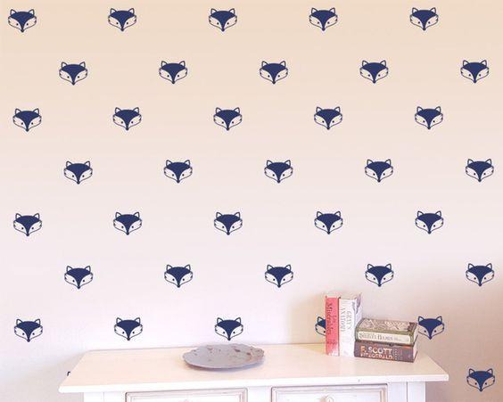 48 pçs/set Raposa Bonito Decalques Teepee seta parede da sala de crianças adesivo de parede Mural Decoração do berçário decalque adesivos wallpattern D994