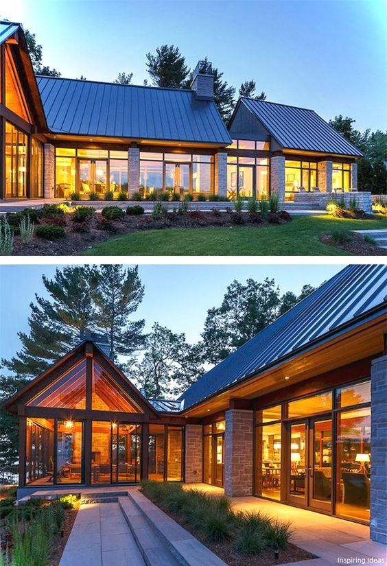 Steep Pitch Metal Roof Lots Of Glass Black Window Frames Stone Columns House Designs Exterior Cottage House Exterior House Exterior