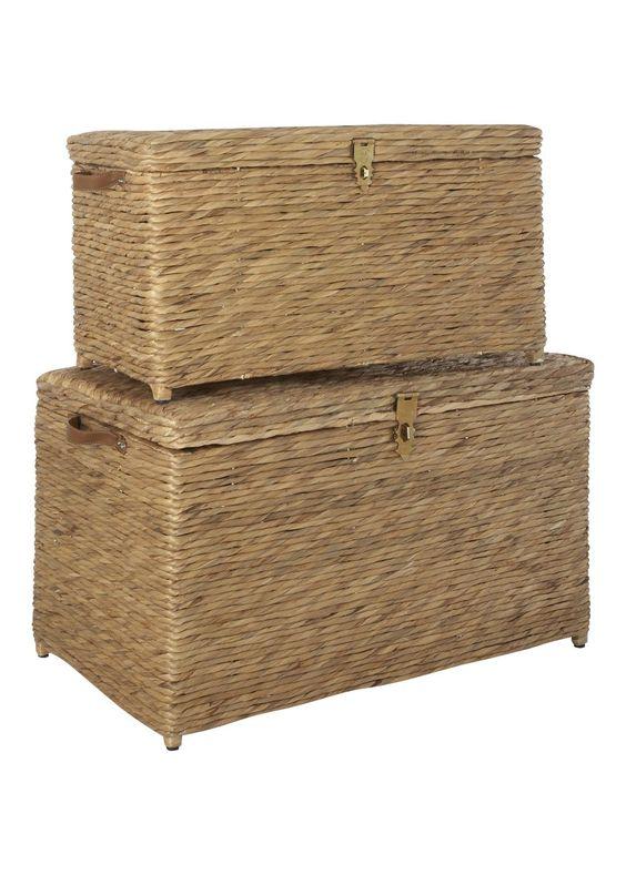 Set of 2 water hyacinth storage trunks living rooms products and storage for Storage trunks for living room