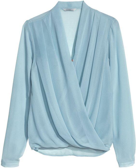 H&M Draped Blouse - Turquoise - Ladies on shopstyle.com