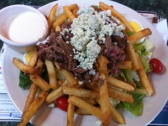 Cooking Irish: The Pittsburg Steak and Fries Salad with Bleu Cheese Crumbled Dressing