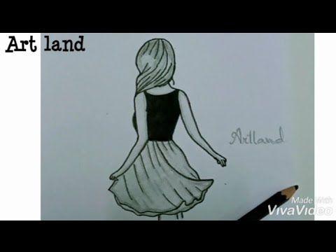 تعليم الرسم الدرس السابع رسم فتاه من الجنب مع فستان جميل رسم سهل Girl With Back Side Drawing Youtube Memes Youtube Art