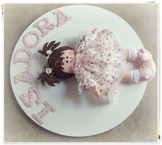 little girl name plaque w/doll in felt