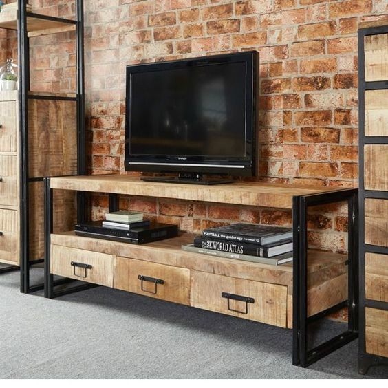 Vintage industrial tv stand entertainment centre storage for Wood and metal cabinets