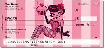 Cupcake Girl Checks ~ custom personal checks with retro pinup art by Miss Fluff ~ http://foodiechecks.com/Cupcake.shtml