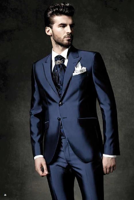 2015 hot sale Shiny Navy Blue Groom Tuxedos Peak Lapel Men's Suit
