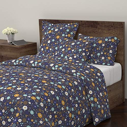 Roostery Winter Duvet Cover Floral Gold Blue Flower Pattern By Megdig Design 100 Cotton King Duvet Co Duvet Covers Floral Duvet Covers Twin Queen Duvet Covers